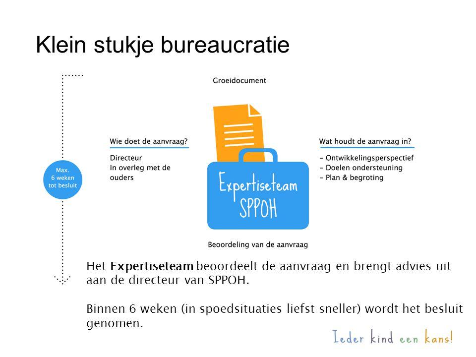 Klein stukje bureaucratie Het Expertiseteam beoordeelt de aanvraag en brengt advies uit aan de directeur van SPPOH. Binnen 6 weken (in spoedsituaties