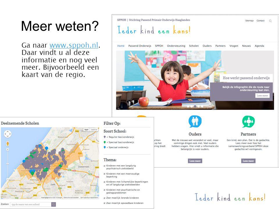 Meer weten? Ga naar www.sppoh.nl.www.sppoh.nl Daar vindt u al deze informatie en nog veel meer. Bijvoorbeeld een kaart van de regio.