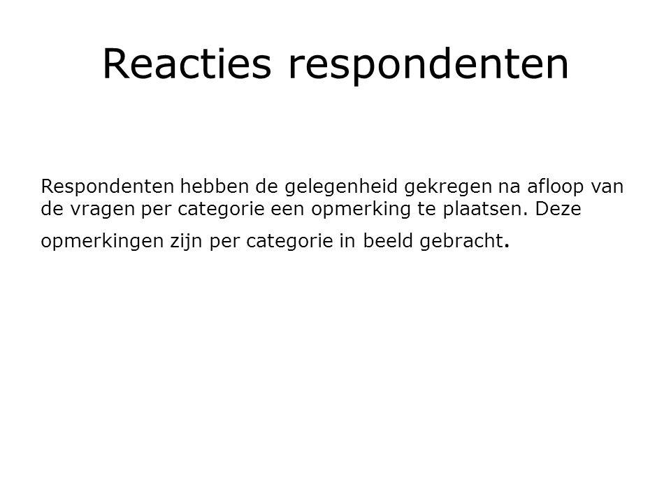 Reacties respondenten Respondenten hebben de gelegenheid gekregen na afloop van de vragen per categorie een opmerking te plaatsen.