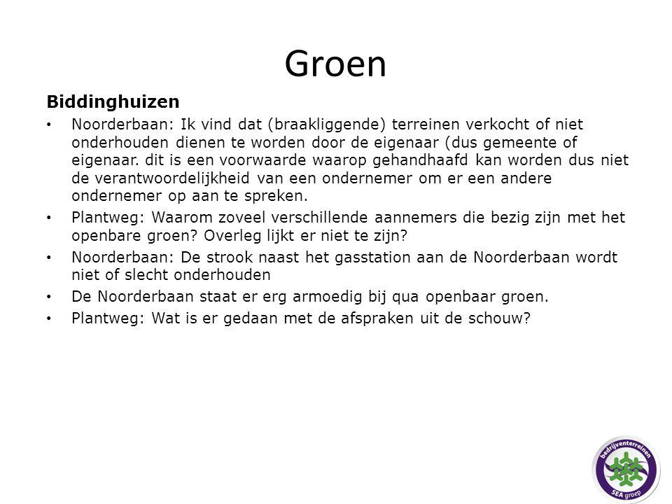 Groen Biddinghuizen Noorderbaan: Ik vind dat (braakliggende) terreinen verkocht of niet onderhouden dienen te worden door de eigenaar (dus gemeente of eigenaar.