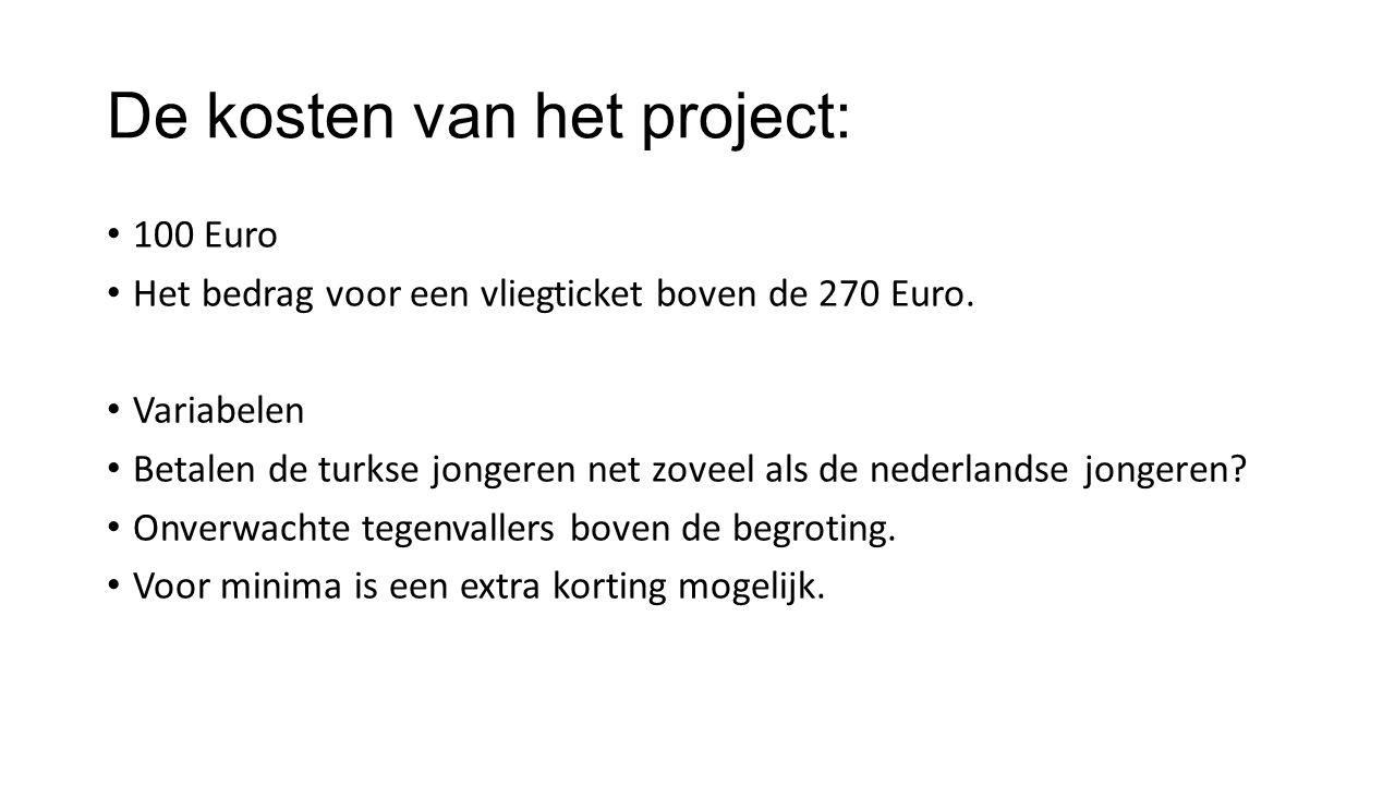 De kosten van het project: 100 Euro Het bedrag voor een vliegticket boven de 270 Euro.