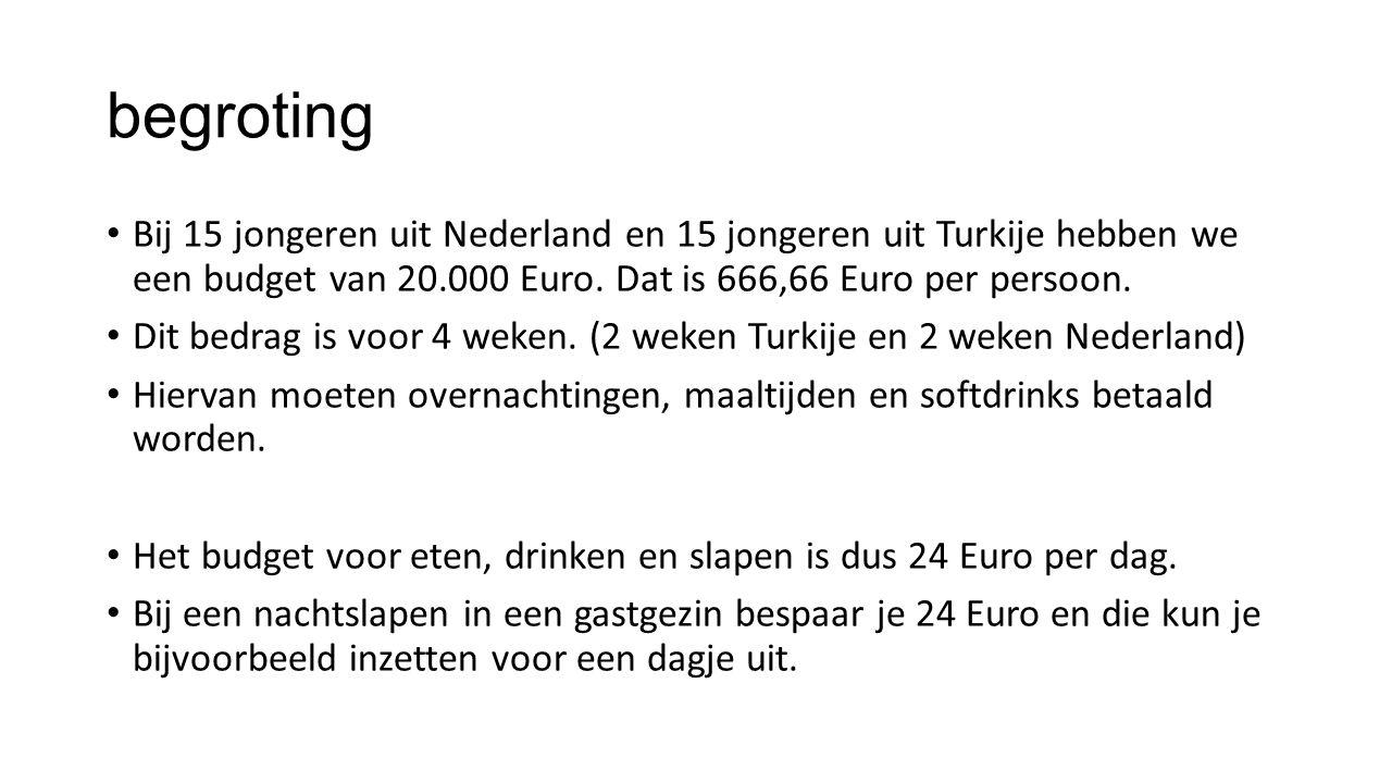 begroting Bij 15 jongeren uit Nederland en 15 jongeren uit Turkije hebben we een budget van 20.000 Euro.