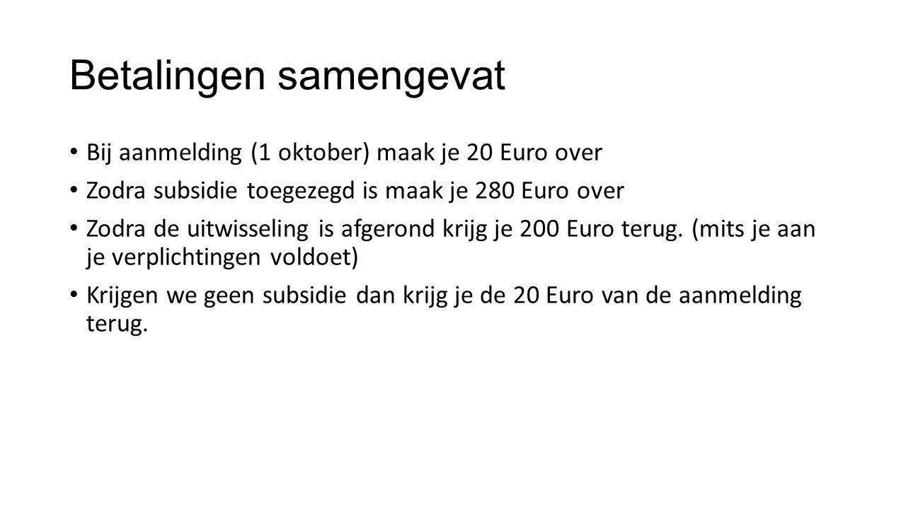 Betalingen samengevat Bij aanmelding (1 oktober) maak je 20 Euro over Zodra subsidie toegezegd is maak je 280 Euro over Zodra de uitwisseling is afgerond krijg je 200 Euro terug.