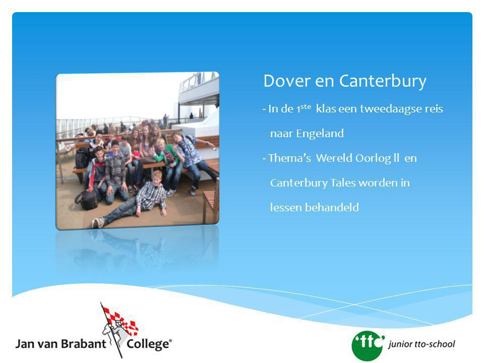 Dover en Canterbury - In de 1 ste klas een tweedaagse reis naar Engeland - Thema's Wereld Oorlog ll en Canterbury Tales worden in lessen behandeld