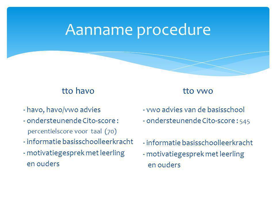 Aanname procedure tto havo - havo, havo/vwo advies - ondersteunende Cito-score : percentielscore voor taal (70) - informatie basisschoolleerkracht - m