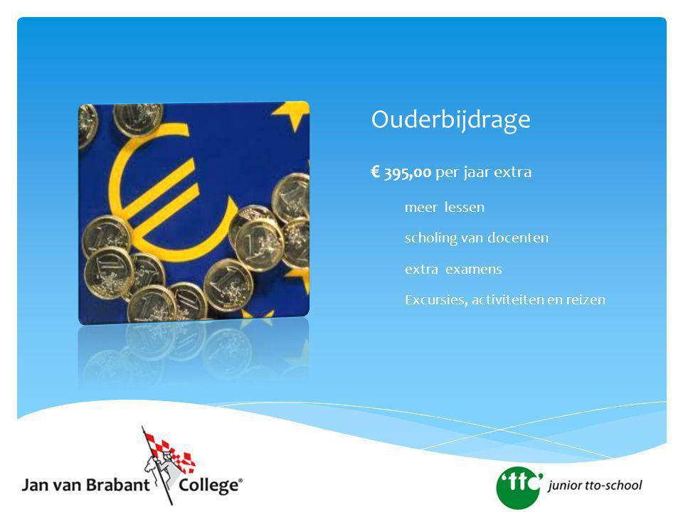 Ouderbijdrage € 395,00 per jaar extra meer lessen scholing van docenten extra examens Excursies, activiteiten en reizen
