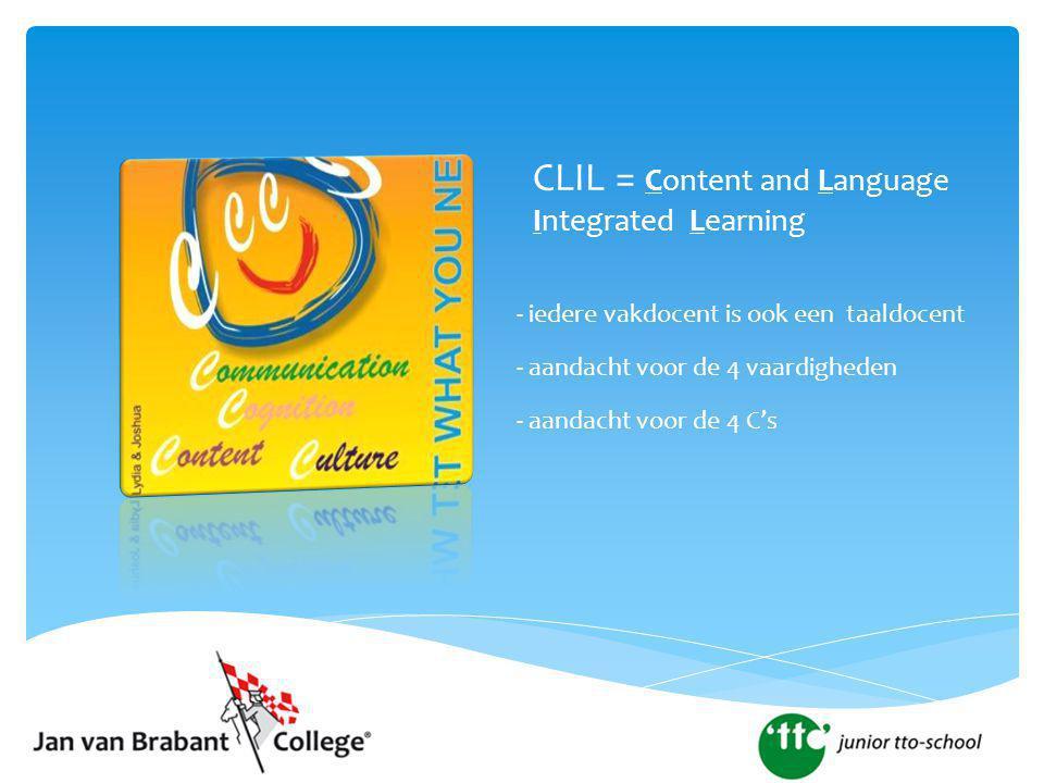 CLIL = Content and Language Integrated Learning - iedere vakdocent is ook een taaldocent - aandacht voor de 4 vaardigheden - aandacht voor de 4 C's