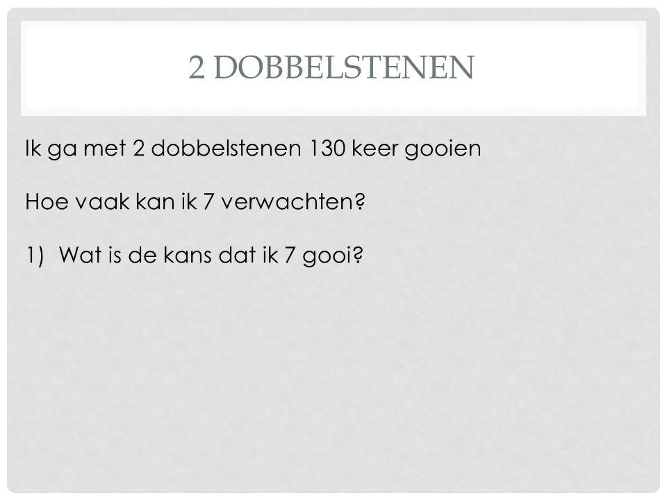 2 DOBBELSTENEN Ik ga met 2 dobbelstenen 130 keer gooien Hoe vaak kan ik 7 verwachten? 1)Wat is de kans dat ik 7 gooi?
