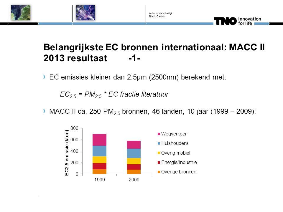 Belangrijkste EC bronnen internationaal: MACC II 2013 resultaat-1- EC emissies kleiner dan 2.5µm (2500nm) berekend met: EC 2.5 = PM 2.5 * EC fractie l