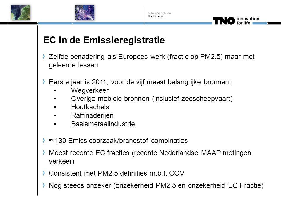 EC in de Emissieregistratie Zelfde benadering als Europees werk (fractie op PM2.5) maar met geleerde lessen Eerste jaar is 2011, voor de vijf meest be