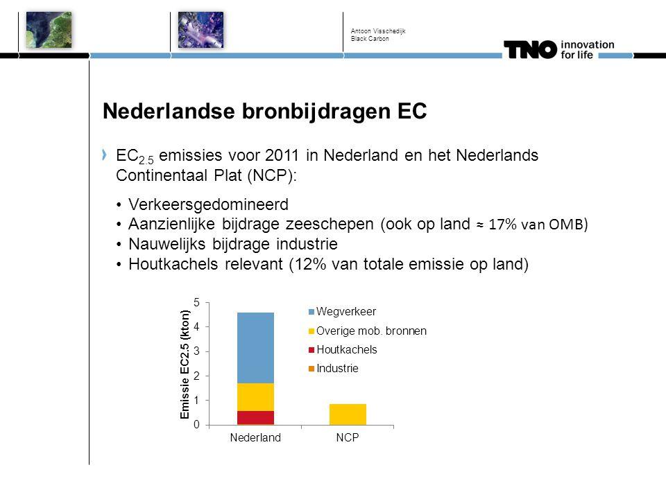 Nederlandse bronbijdragen EC EC 2.5 emissies voor 2011 in Nederland en het Nederlands Continentaal Plat (NCP): Verkeersgedomineerd Aanzienlijke bijdra