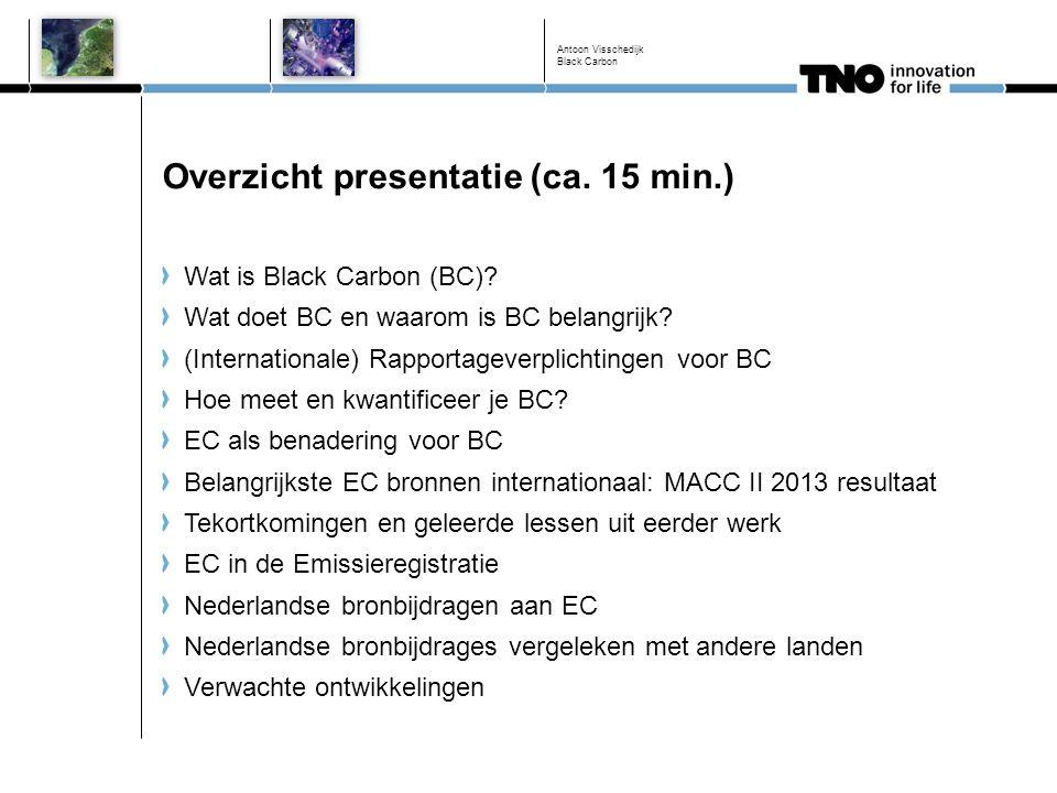 EC in de Emissieregistratie Zelfde benadering als Europees werk (fractie op PM2.5) maar met geleerde lessen Eerste jaar is 2011, voor de vijf meest belangrijke bronnen: Wegverkeer Overige mobiele bronnen (inclusief zeescheepvaart) Houtkachels Raffinaderijen Basismetaalindustrie ≈ 130 Emissieoorzaak/brandstof combinaties Meest recente EC fracties (recente Nederlandse MAAP metingen verkeer) Consistent met PM2.5 definities m.b.t.
