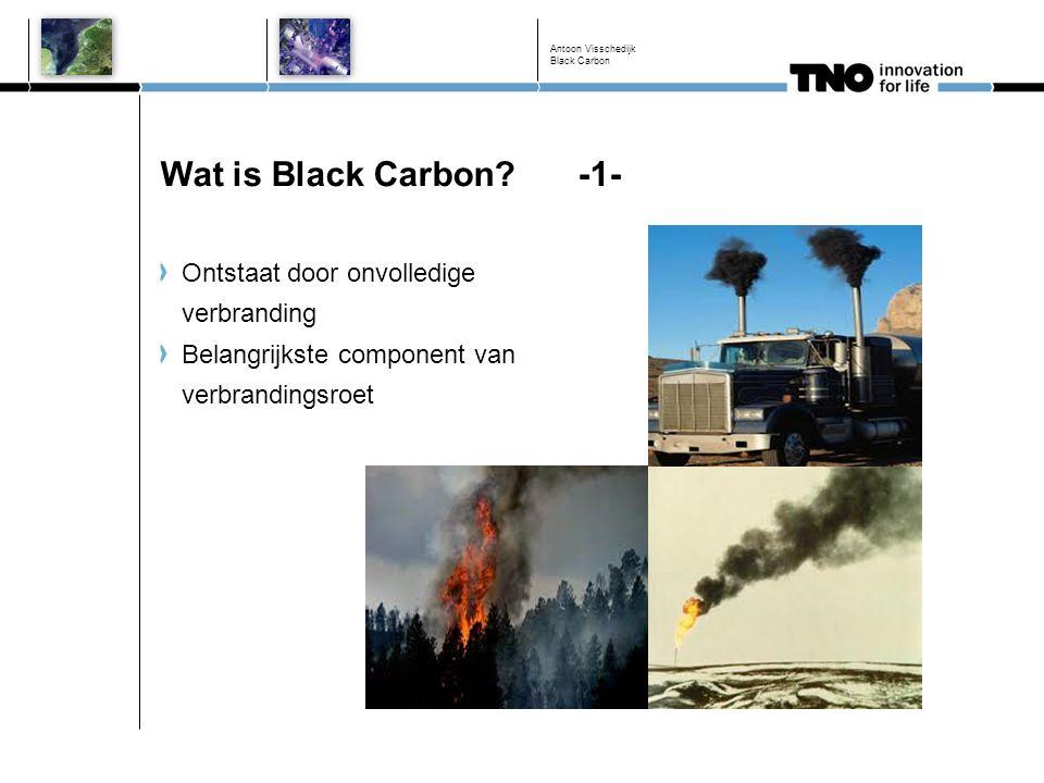 Nederlandse bronbijdragen EC EC 2.5 emissies voor 2011 in Nederland en het Nederlands Continentaal Plat (NCP): Verkeersgedomineerd Aanzienlijke bijdrage zeeschepen (ook op land ≈ 17% van OMB) Nauwelijks bijdrage industrie Houtkachels relevant (12% van totale emissie op land) Antoon Visschedijk Black Carbon