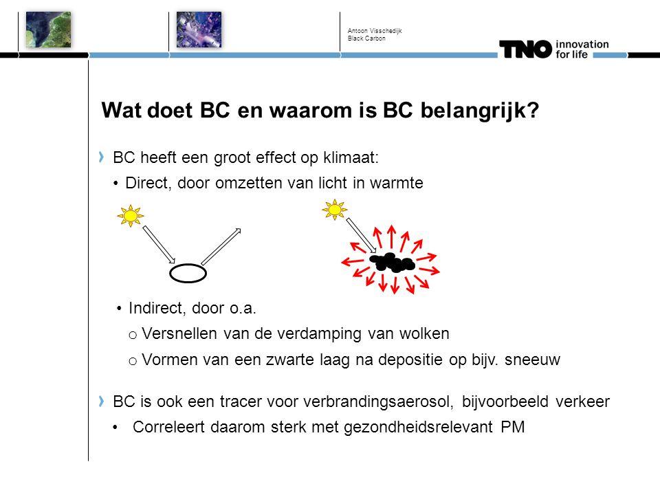 Wat doet BC en waarom is BC belangrijk? BC heeft een groot effect op klimaat: Direct, door omzetten van licht in warmte Antoon Visschedijk Black Carbo