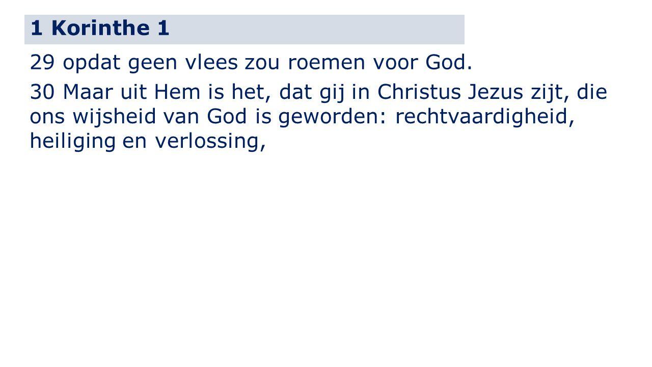 1 Korinthe 1 29 opdat geen vlees zou roemen voor God.