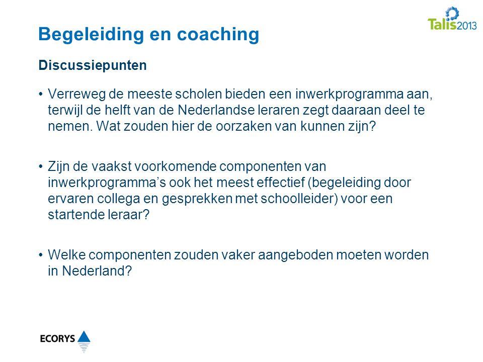 Begeleiding en coaching Verreweg de meeste scholen bieden een inwerkprogramma aan, terwijl de helft van de Nederlandse leraren zegt daaraan deel te nemen.