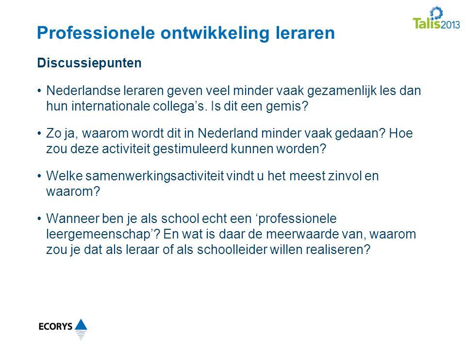 Professionele ontwikkeling leraren Nederlandse leraren geven veel minder vaak gezamenlijk les dan hun internationale collega's.