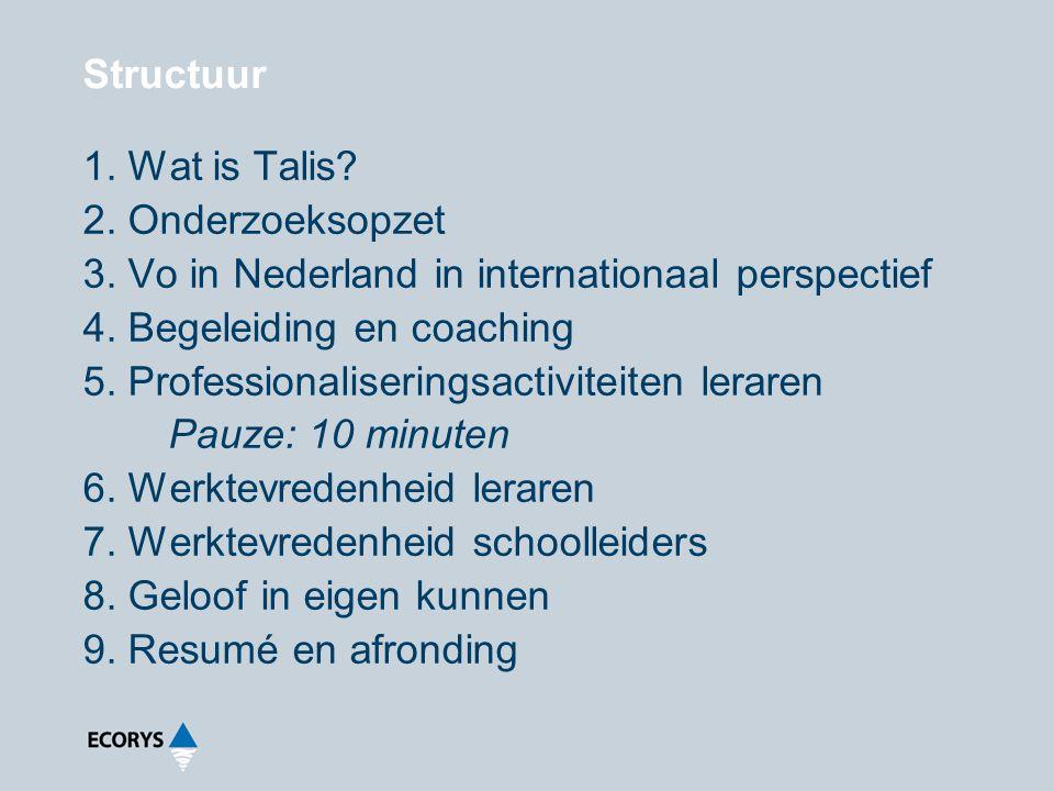 1.Wat is Talis. 2. Onderzoeksopzet 3. Vo in Nederland in internationaal perspectief 4.