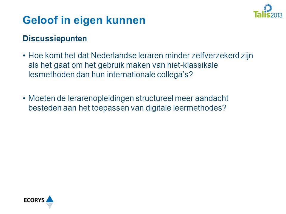 Geloof in eigen kunnen Hoe komt het dat Nederlandse leraren minder zelfverzekerd zijn als het gaat om het gebruik maken van niet-klassikale lesmethoden dan hun internationale collega's.