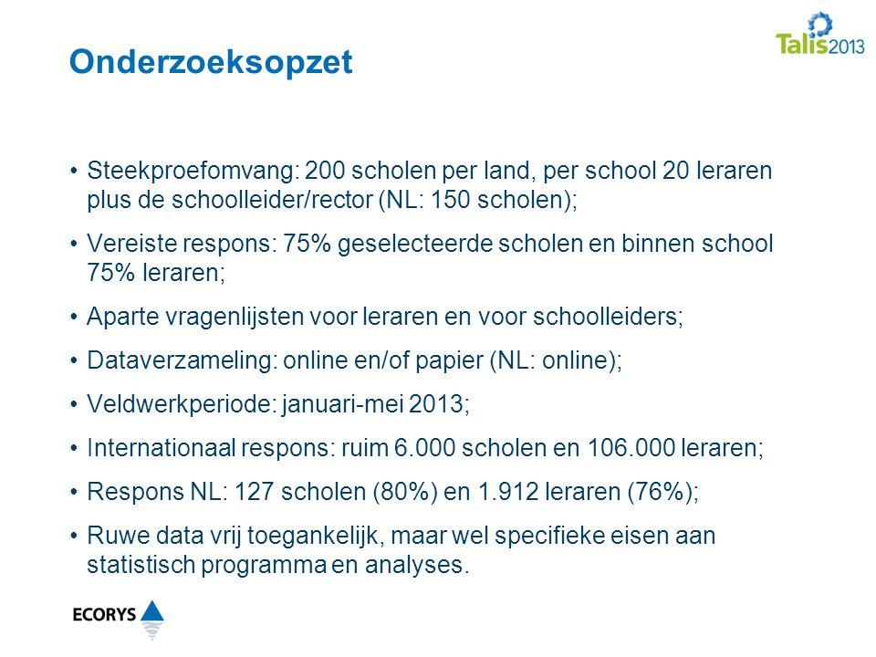 Onderzoeksopzet Steekproefomvang: 200 scholen per land, per school 20 leraren plus de schoolleider/rector (NL: 150 scholen); Vereiste respons: 75% geselecteerde scholen en binnen school 75% leraren; Aparte vragenlijsten voor leraren en voor schoolleiders; Dataverzameling: online en/of papier (NL: online); Veldwerkperiode: januari-mei 2013; Internationaal respons: ruim 6.000 scholen en 106.000 leraren; Respons NL: 127 scholen (80%) en 1.912 leraren (76%); Ruwe data vrij toegankelijk, maar wel specifieke eisen aan statistisch programma en analyses.