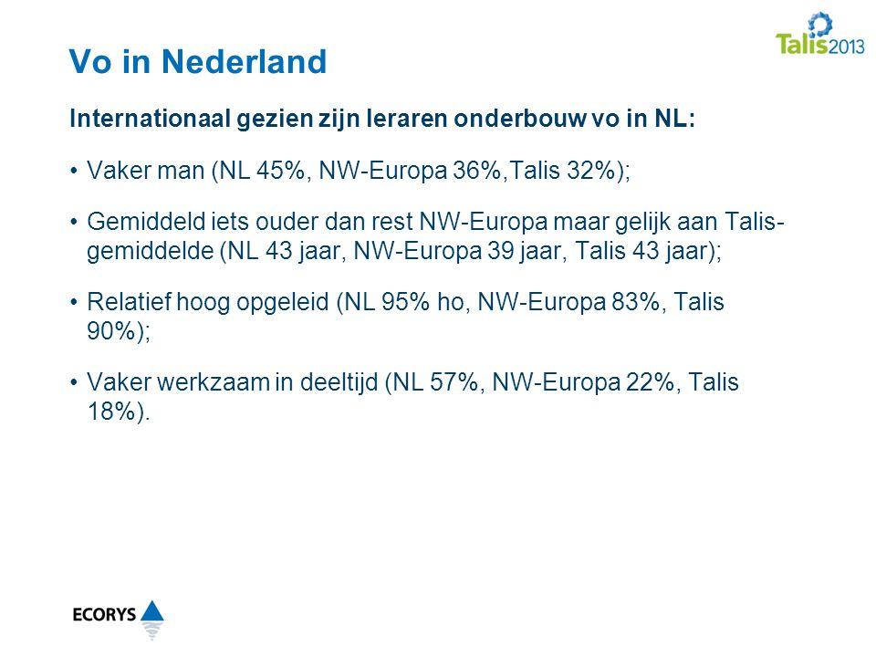 Vo in Nederland Vaker man (NL 45%, NW-Europa 36%,Talis 32%); Gemiddeld iets ouder dan rest NW-Europa maar gelijk aan Talis- gemiddelde (NL 43 jaar, NW-Europa 39 jaar, Talis 43 jaar); Relatief hoog opgeleid (NL 95% ho, NW-Europa 83%, Talis 90%); Vaker werkzaam in deeltijd (NL 57%, NW-Europa 22%, Talis 18%).