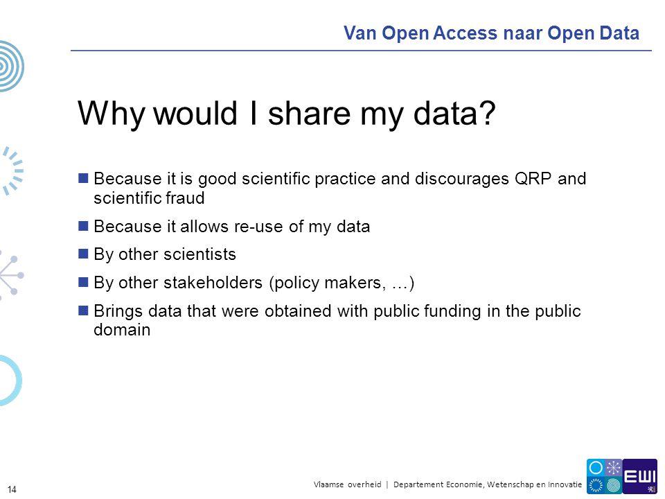 Vlaamse overheid | Departement Economie, Wetenschap en Innovatie Van Open Access naar Open Data Why would I share my data? Because it is good scientif