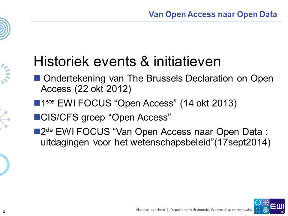 Vlaamse overheid | Departement Economie, Wetenschap en Innovatie Van Open Access naar Open Data Historiek events & initiatieven Ondertekening van The