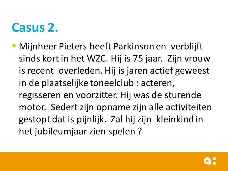  Mijnheer Pieters heeft Parkinson en verblijft sinds kort in het WZC. Hij is 75 jaar. Zijn vrouw is recent overleden. Hij is jaren actief geweest in