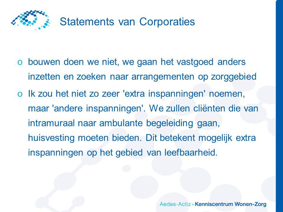 Statements van Corporaties obouwen doen we niet, we gaan het vastgoed anders inzetten en zoeken naar arrangementen op zorggebied oIk zou het niet zo z