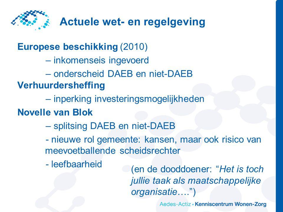 Actuele wet- en regelgeving Europese beschikking (2010) – inkomenseis ingevoerd – onderscheid DAEB en niet-DAEB Verhuurdersheffing – inperking investe