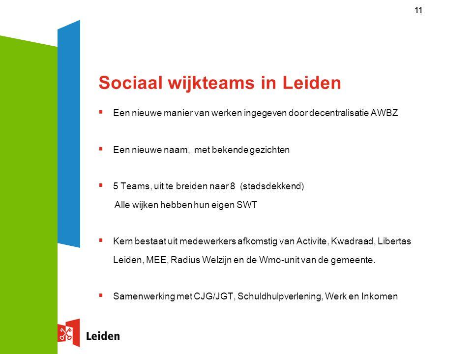 Sociaal wijkteams in Leiden  Een nieuwe manier van werken ingegeven door decentralisatie AWBZ  Een nieuwe naam, met bekende gezichten  5 Teams, uit