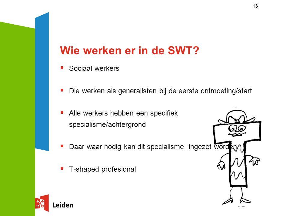 Wie werken er in de SWT?  Sociaal werkers  Die werken als generalisten bij de eerste ontmoeting/start  Alle werkers hebben een specifiek specialism