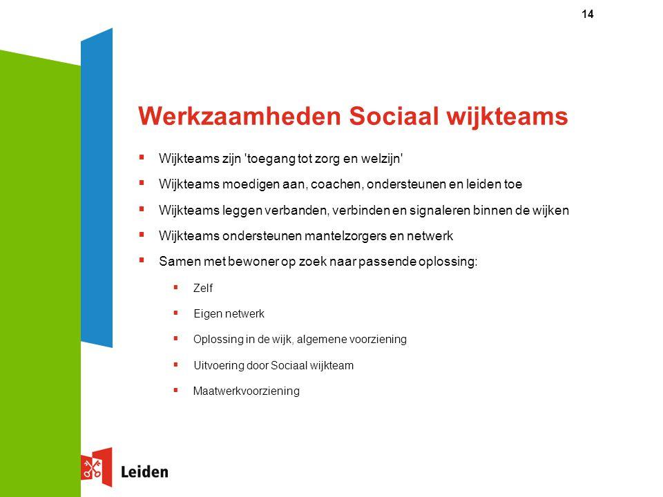 Werkzaamheden Sociaal wijkteams  Wijkteams zijn 'toegang tot zorg en welzijn'  Wijkteams moedigen aan, coachen, ondersteunen en leiden toe  Wijktea