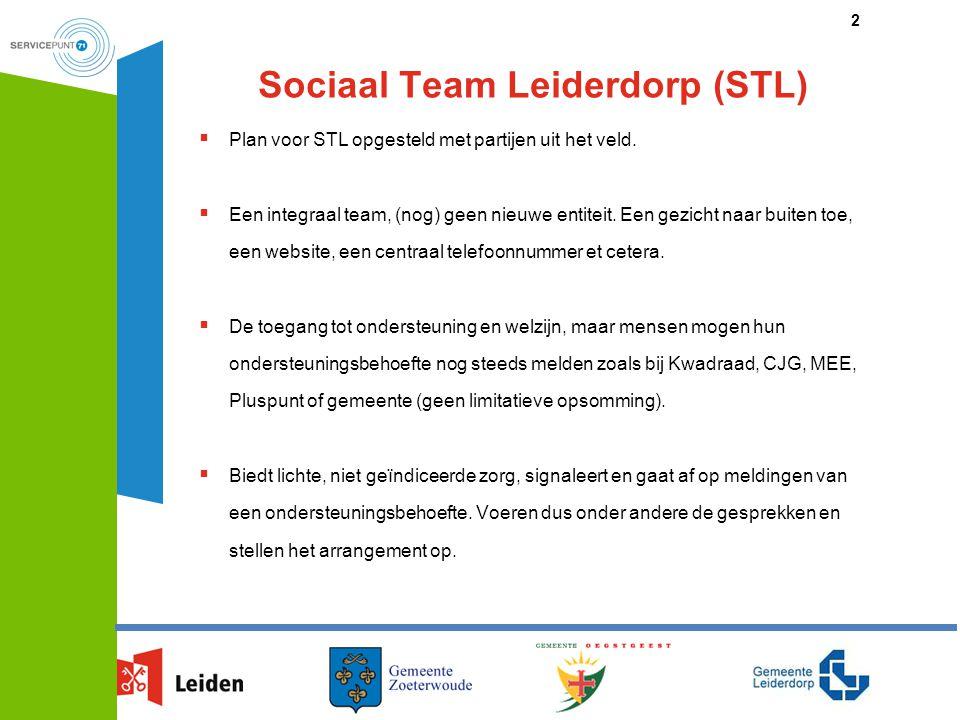 Sociaal Team Leiderdorp  Deelnemers: Pluspunt, Kwadraad, Wijkverpleging (ActiVite), Wmo consulenten, MEE, Sociaal Innovator (vergelijkbaar met opbouwwerk) en coördinator STL.