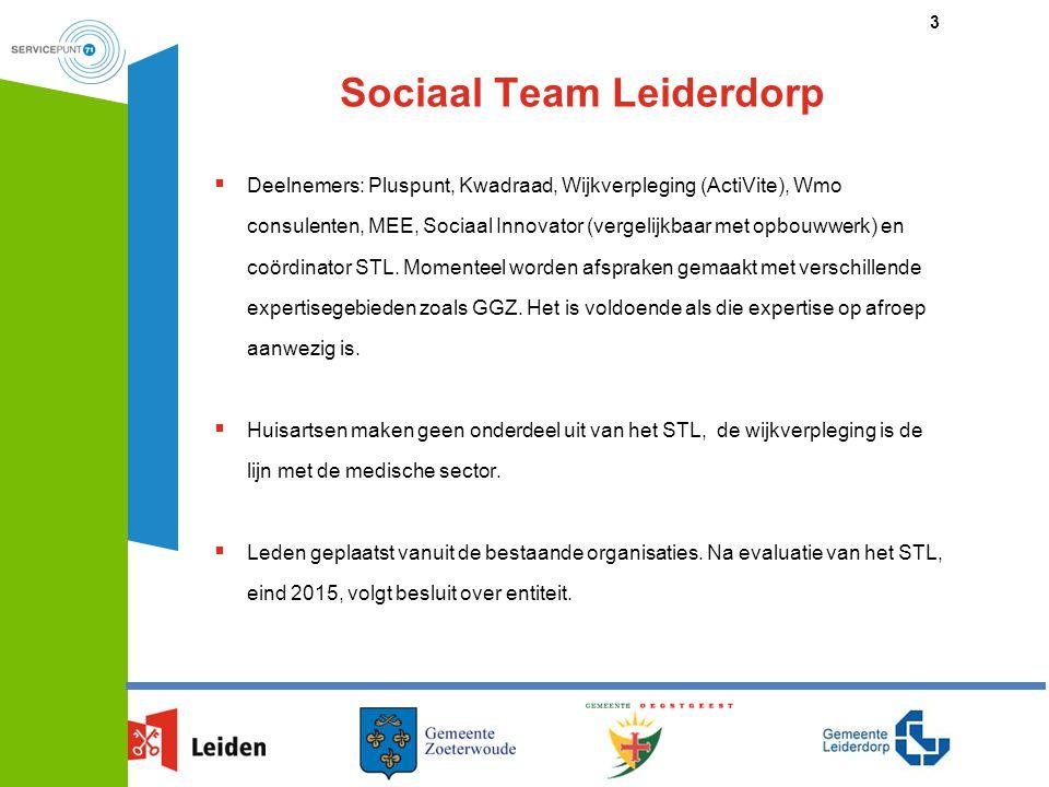 Sociaal Team Leiderdorp  Deelnemers: Pluspunt, Kwadraad, Wijkverpleging (ActiVite), Wmo consulenten, MEE, Sociaal Innovator (vergelijkbaar met opbouw