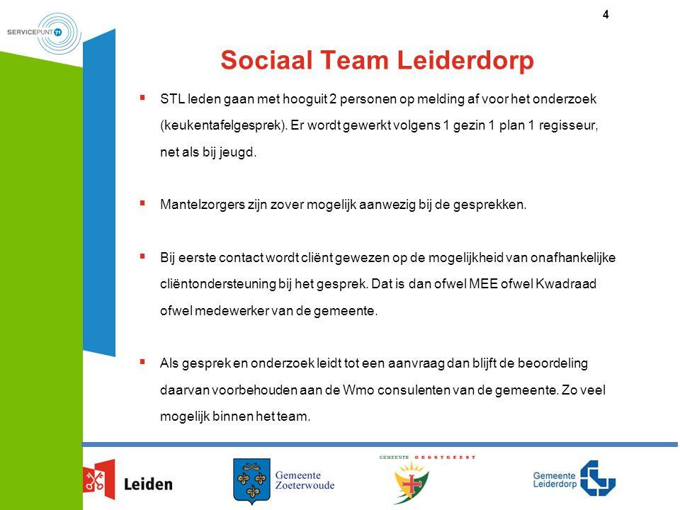 Sociaal Team Leiderdorp  STL leden gaan met hooguit 2 personen op melding af voor het onderzoek (keukentafelgesprek). Er wordt gewerkt volgens 1 gezi
