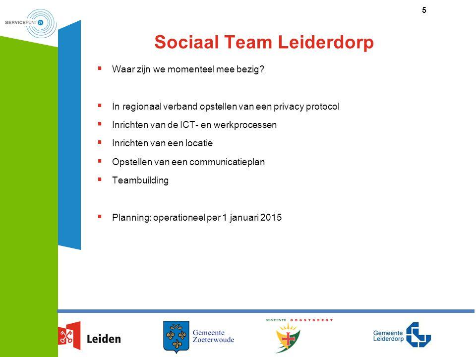 Sociaal Team Leiderdorp  Waar zijn we momenteel mee bezig?  In regionaal verband opstellen van een privacy protocol  Inrichten van de ICT- en werkp