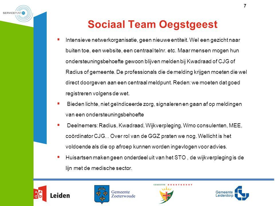 Sociaal Team Oegstgeest  Intensieve netwerkorganisatie, geen nieuwe entiteit. Wel een gezicht naar buiten toe, een website, een centraal telnr. etc.