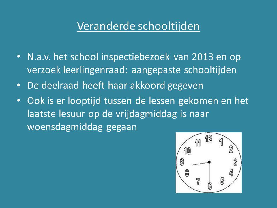 Veranderde schooltijden N.a.v. het school inspectiebezoek van 2013 en op verzoek leerlingenraad: aangepaste schooltijden De deelraad heeft haar akkoor