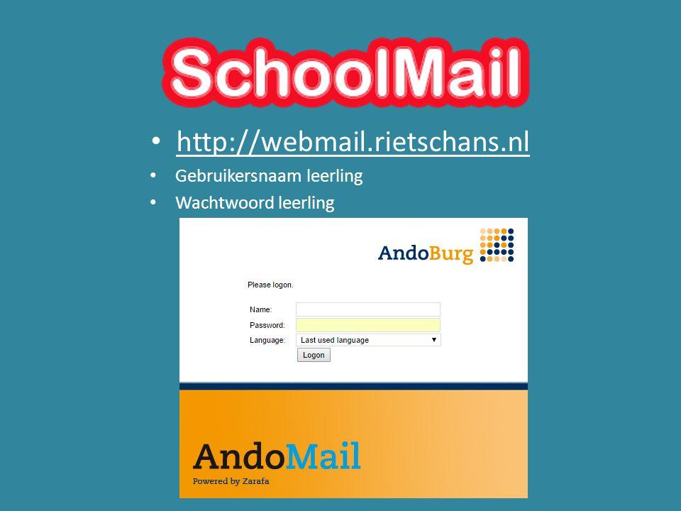 http://webmail.rietschans.nl Gebruikersnaam leerling Wachtwoord leerling