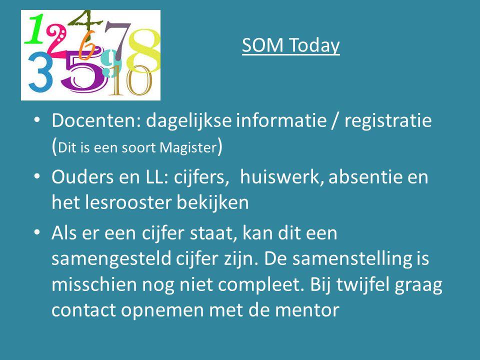 SOM Today Docenten: dagelijkse informatie / registratie ( Dit is een soort Magister ) Ouders en LL: cijfers, huiswerk, absentie en het lesrooster beki