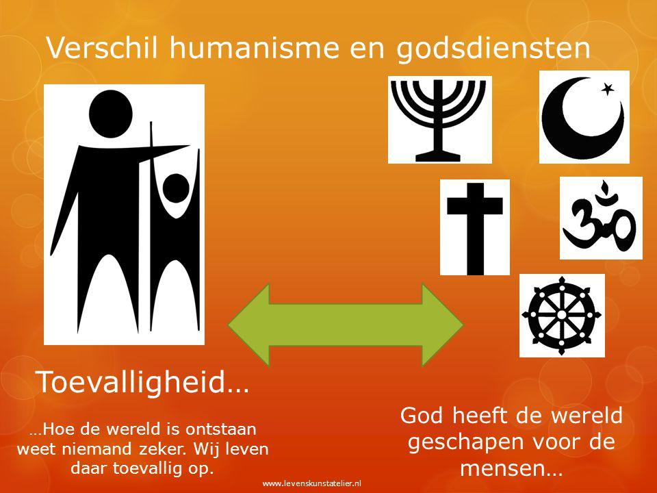 Verschil humanisme en godsdiensten Toevalligheid… …Hoe de wereld is ontstaan weet niemand zeker. Wij leven daar toevallig op. God heeft de wereld gesc
