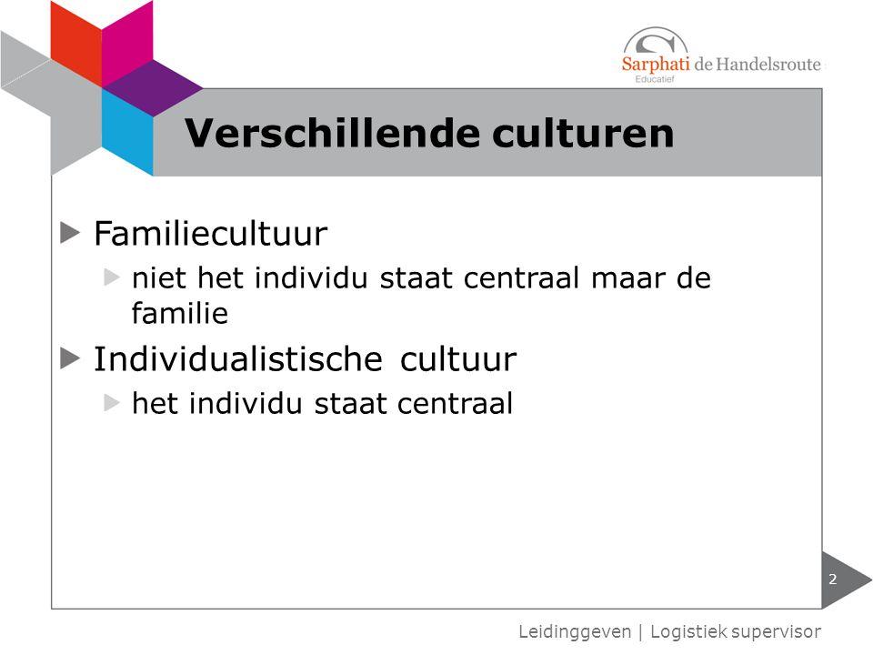Familiecultuur niet het individu staat centraal maar de familie Individualistische cultuur het individu staat centraal 2 Leidinggeven | Logistiek supervisor Verschillende culturen