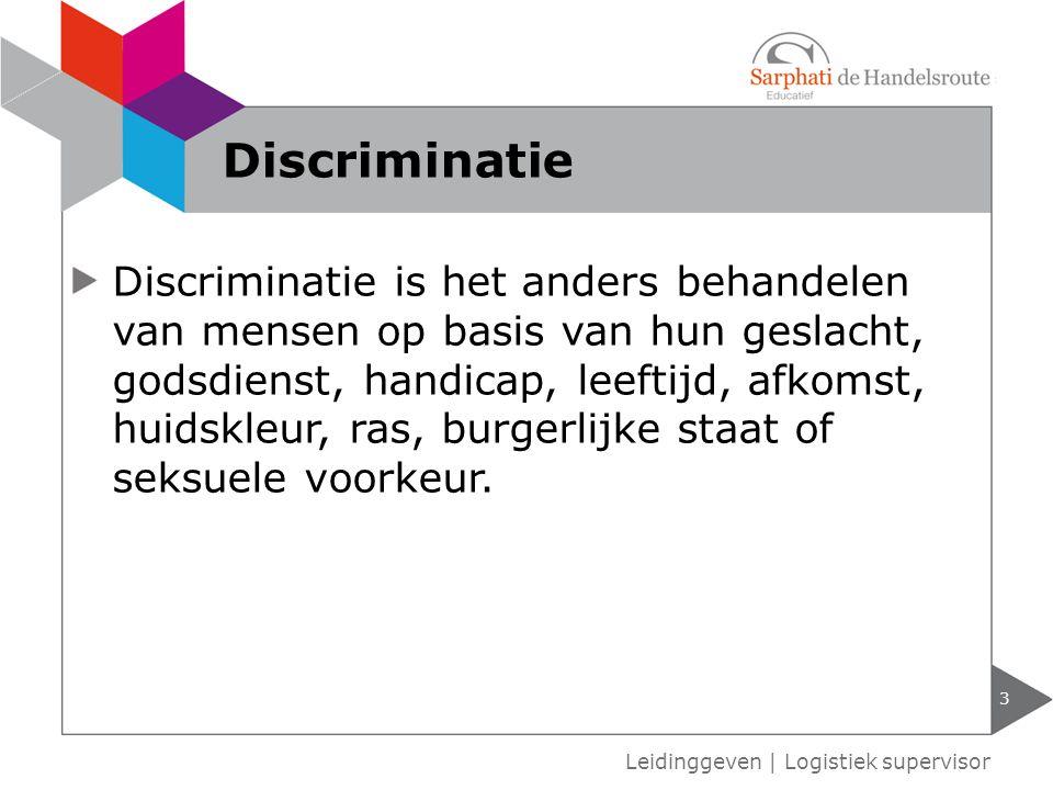 Discriminatie is het anders behandelen van mensen op basis van hun geslacht, godsdienst, handicap, leeftijd, afkomst, huidskleur, ras, burgerlijke staat of seksuele voorkeur.