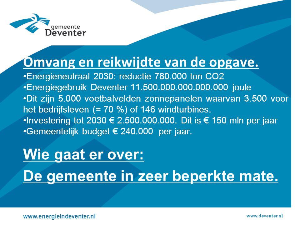 Wie gaat er over: De gemeente in zeer beperkte mate. www.energieindeventer.nl Omvang en reikwijdte van de opgave. Energieneutraal 2030: reductie 780.0