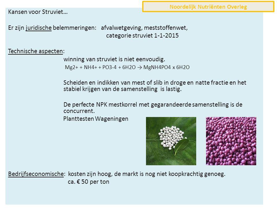 Kansen voor Struviet… Er zijn juridische belemmeringen: afvalwetgeving, meststoffenwet, categorie struviet 1-1-2015 Technische aspecten: winning van struviet is niet eenvoudig.