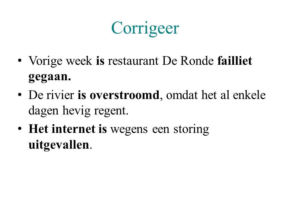 Corrigeer Vorige week is restaurant De Ronde failliet gegaan. De rivier is overstroomd, omdat het al enkele dagen hevig regent. Het internet is wegens
