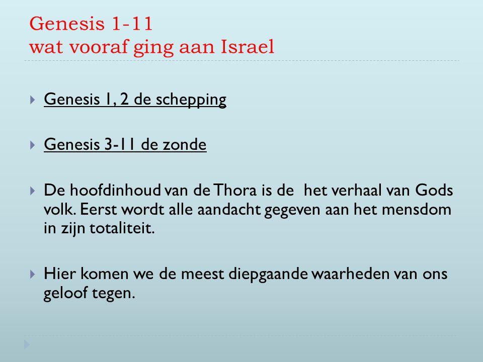 Genesis 1-11 wat vooraf ging aan Israel  Genesis 1, 2 de schepping  Genesis 3-11 de zonde  De hoofdinhoud van de Thora is de het verhaal van Gods v