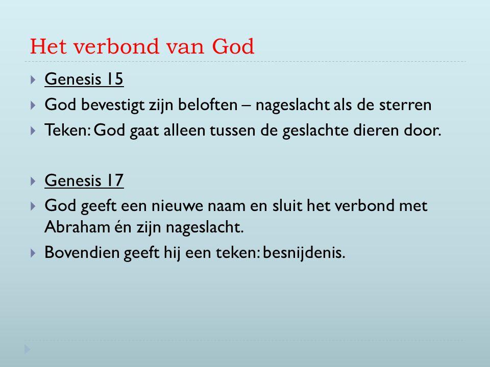 Het verbond van God  Genesis 15  God bevestigt zijn beloften – nageslacht als de sterren  Teken: God gaat alleen tussen de geslachte dieren door. 