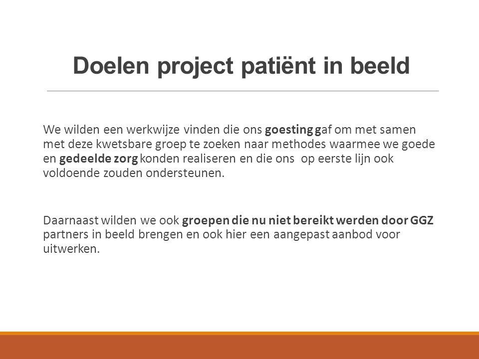Project : Patiënt in beeld We hebben een werkwijze gezocht en gevonden om te doseren, om te kiezen wat we zelf doen op de 1e lijn en wat we doen in wisselwerking met de 2e en 3e lijn.